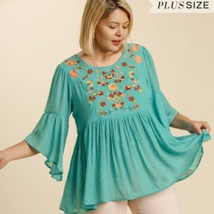 Umgee Plus Turquoise Floral Babydoll Tunic Top